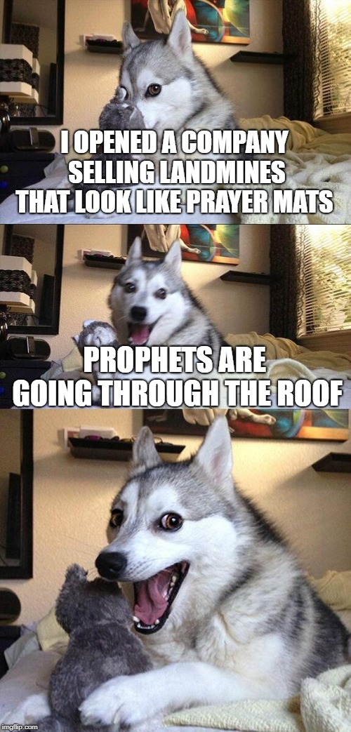 Bad Pun Dog Meme | I OPENED A COMPANY SELLING LANDMINES THAT LOOK LIKE PRAYER MATS PROPHETS ARE GOING THROUGH THE ROOF | image tagged in memes,bad pun dog | made w/ Imgflip meme maker