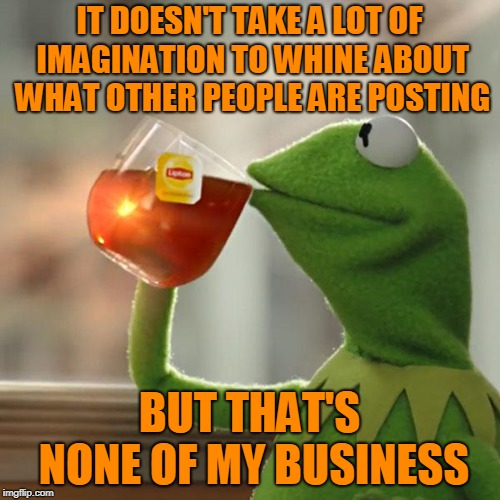 But Thats None Of My Business Meme | IT DOESN'T TAKE A LOT OF IMAGINATION TO WHINE ABOUT WHAT OTHER PEOPLE ARE POSTING BUT THAT'S NONE OF MY BUSINESS | image tagged in memes,but thats none of my business,kermit the frog | made w/ Imgflip meme maker