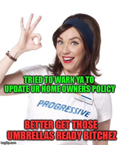 Hurricane Flo n da house | TRIED TO WARN YA TO UPDATE UR HOME OWNERS POLICY BETTER GET THOSE UMBRELLAS READY B**CHEZ | image tagged in progressive,hurricane florence | made w/ Imgflip meme maker