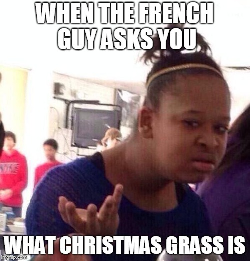 Black Girl Wat Meme | WHEN THE FRENCH GUY ASKS YOU WHAT CHRISTMAS GRASS IS | image tagged in memes,black girl wat | made w/ Imgflip meme maker