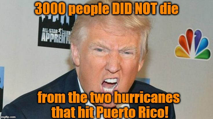 Fake News Networks AGAIN trying to defame President Trump! |  3000 people DID NOT die; from the two hurricanes that hit Puerto Rico! | image tagged in trump mad | made w/ Imgflip meme maker