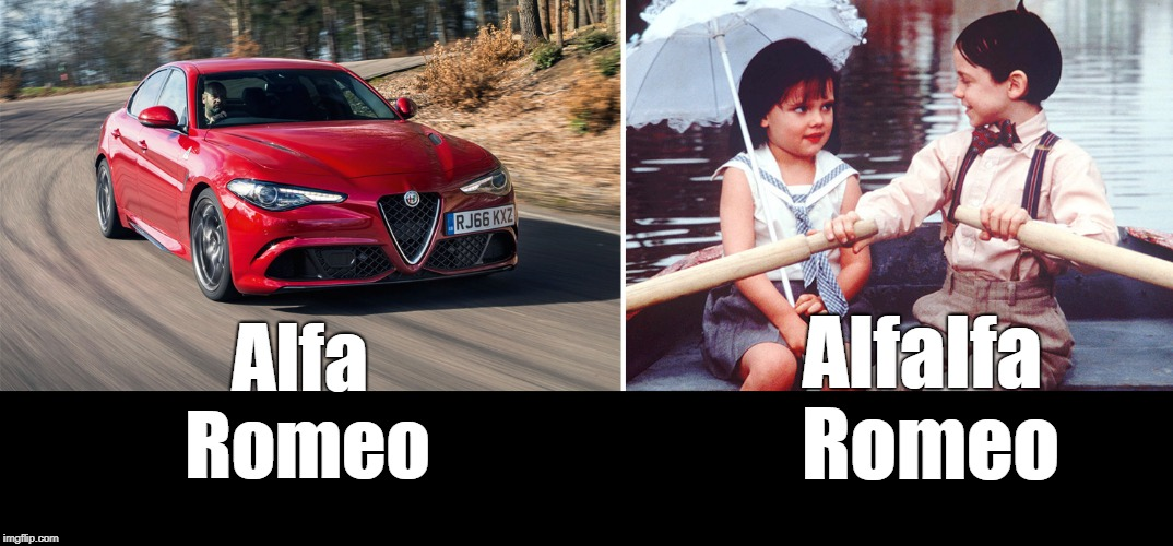 Separated at birth? | Alfa Romeo Alfalfa Romeo | image tagged in alfalfa,little rascals | made w/ Imgflip meme maker