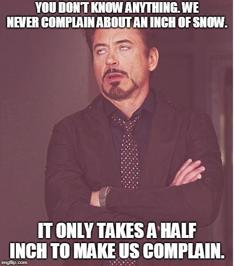Face You Make Robert Downey Jr Meme | YOU DON'T KNOW ANYTHING. WE NEVER COMPLAIN ABOUT AN INCH OF SNOW. IT ONLY TAKES A HALF INCH TO MAKE US COMPLAIN. | image tagged in memes,face you make robert downey jr | made w/ Imgflip meme maker