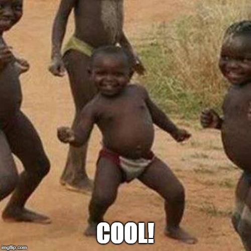 Third World Success Kid Meme | COOL! | image tagged in memes,third world success kid | made w/ Imgflip meme maker