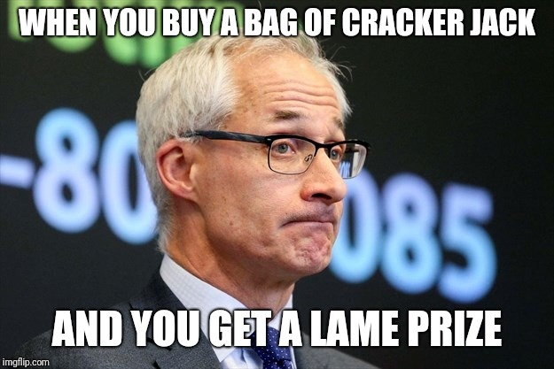 Cracker Jack Prizes: Not what they used to be! | WHEN YOU BUY A BAG OF CRACKER JACK AND YOU GET A LAME PRIZE | image tagged in dirk huyer,funny,memes,cracker jack | made w/ Imgflip meme maker