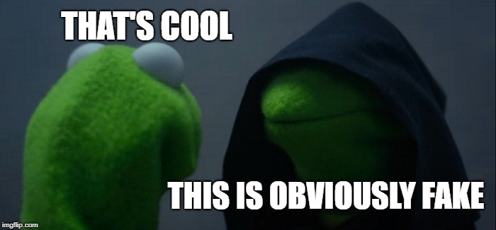 Evil Kermit Meme | THAT'S COOL THIS IS OBVIOUSLY FAKE | image tagged in memes,evil kermit | made w/ Imgflip meme maker