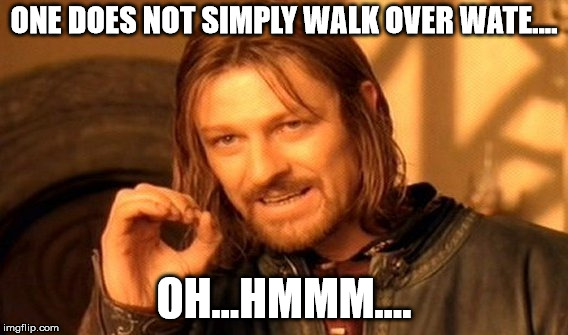 One Does Not Simply Meme | ONE DOES NOT SIMPLY WALK OVER WATE.... OH...HMMM.... | image tagged in memes,one does not simply | made w/ Imgflip meme maker