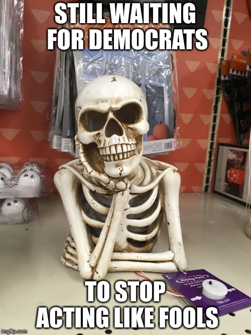 STILL WAITING FOR DEMOCRATS TO STOP ACTING LIKE FOOLS | image tagged in still waiting | made w/ Imgflip meme maker