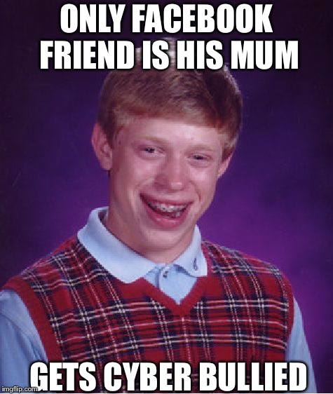 Bad Luck Brian Meme | ONLY FACEBOOK FRIEND IS HIS MUM GETS CYBER BULLIED | image tagged in memes,bad luck brian | made w/ Imgflip meme maker