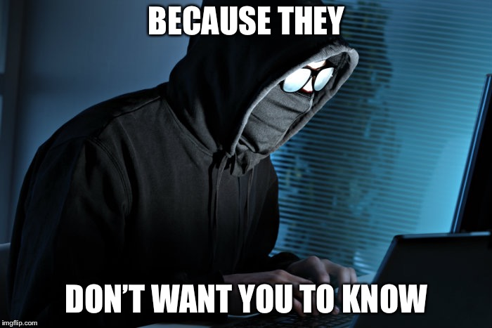 Paranoid | BECAUSE THEY DON'T WANT YOU TO KNOW | image tagged in paranoid | made w/ Imgflip meme maker