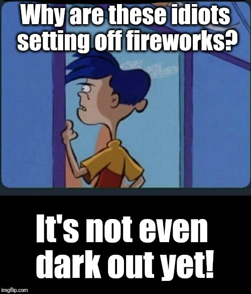 Apparently the economy ain't that bad when people can waste thousands of dollars worth of fireworks and cherry bombs | Why are these idiots setting off fireworks? It's not even dark out yet! | image tagged in ed edd n eddy rolf | made w/ Imgflip meme maker