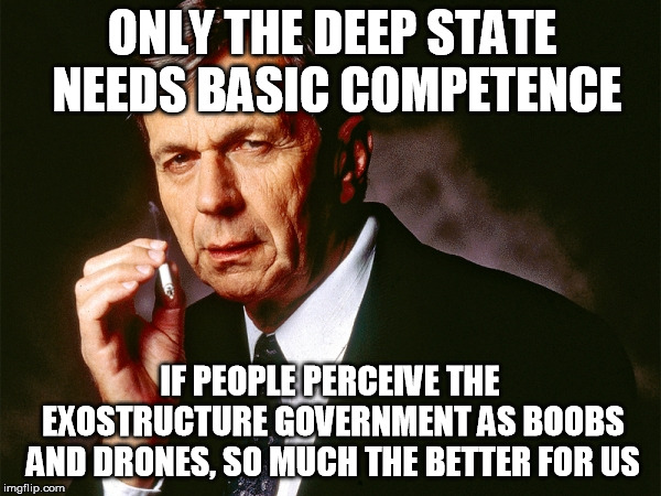 Cigarette Smoking Man | ONLY THE DEEP STATE NEEDS BASIC COMPETENCE IF PEOPLE PERCEIVE THE EXOSTRUCTURE GOVERNMENT AS BOOBS AND DRONES, SO MUCH THE BETTER FOR US | image tagged in cigarette smoking man | made w/ Imgflip meme maker