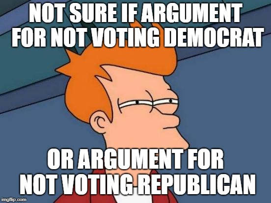 Futurama Fry Meme | NOT SURE IF ARGUMENT FOR NOT VOTING DEMOCRAT OR ARGUMENT FOR NOT VOTING REPUBLICAN | image tagged in memes,futurama fry | made w/ Imgflip meme maker