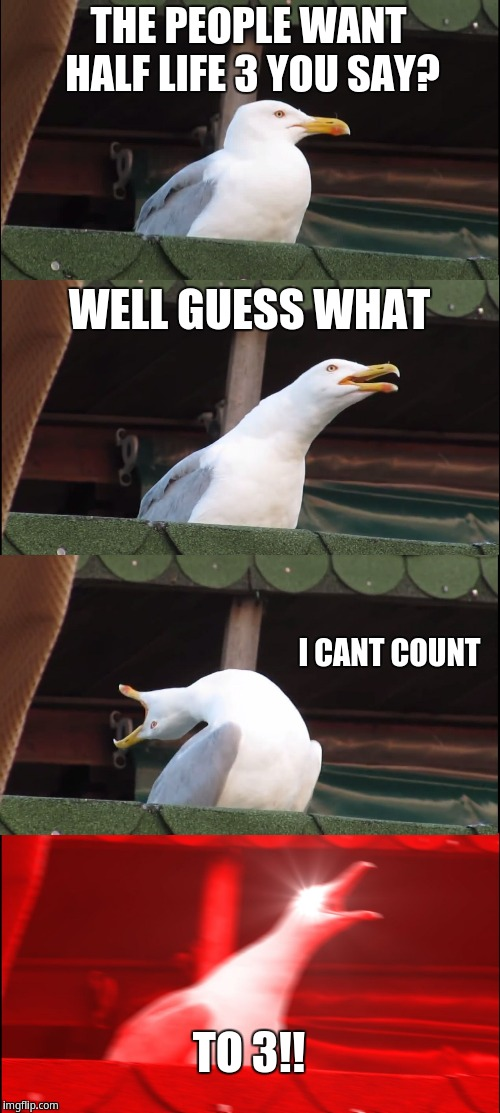 Inhaling Seagull Meme | THE PEOPLE WANT HALF LIFE 3 YOU SAY? WELL GUESS WHAT I CANT COUNT TO 3!! | image tagged in memes,inhaling seagull | made w/ Imgflip meme maker