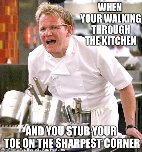 Chef Gordon Ramsay |  WHEN YOUR WALKING THROUGH THE KITCHEN; AND YOU STUB YOUR TOE ON THE SHARPEST CORNER | image tagged in memes,chef gordon ramsay,deathmeme89,praying mantis,stub your toe,toes | made w/ Imgflip meme maker