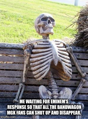 Waiting Skeleton Meme | ME WAITING FOR EMINEM'S RESPONSE SO THAT ALL THE BANDWAGON MGK FANS CAN SHUT UP AND DISAPPEAR. | image tagged in memes,waiting skeleton | made w/ Imgflip meme maker