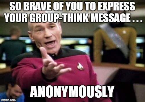Picard Wtf Meme | SO BRAVE OF YOU TO EXPRESS YOUR GROUP-THINK MESSAGE . . . ANONYMOUSLY | image tagged in memes,picard wtf | made w/ Imgflip meme maker