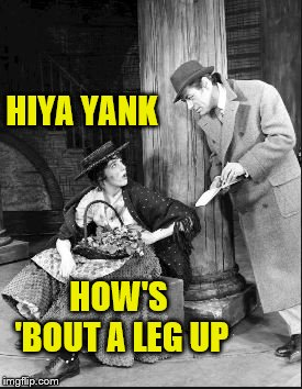 HIYA YANK HOW'S 'BOUT A LEG UP | made w/ Imgflip meme maker