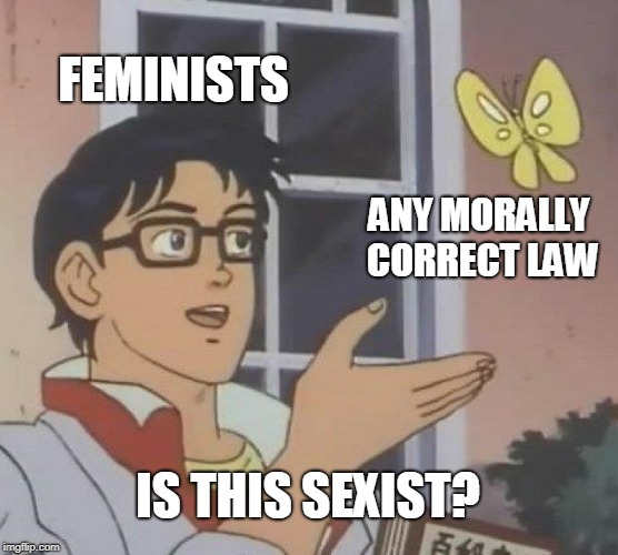 Feminists | FEMINISTS ANY MORALLY CORRECT LAW IS THIS SEXIST? | image tagged in memes,is this a pigeon,feminism,funny,sexism,america | made w/ Imgflip meme maker