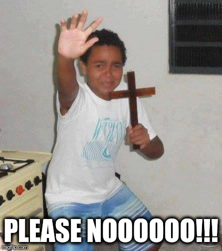 kid with cross | PLEASE NOOOOOO!!! | image tagged in kid with cross | made w/ Imgflip meme maker