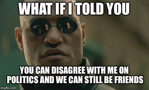 Matrix Morpheus Meme | WHAT IF I TOLD YOU YOU CAN DISAGREE WITH ME ON POLITICS AND WE CAN STILL BE FRIENDS | image tagged in memes,matrix morpheus | made w/ Imgflip meme maker