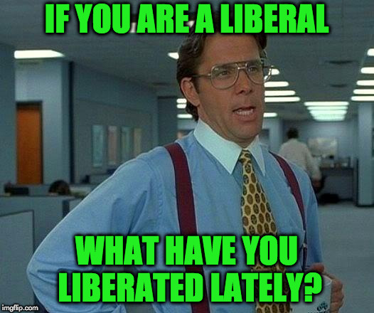 That Would Be Great Meme | IF YOU ARE A LIBERAL WHAT HAVE YOU LIBERATED LATELY? | image tagged in memes,that would be great | made w/ Imgflip meme maker
