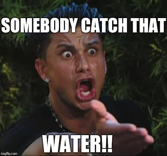 DJ Pauly D Meme | SOMEBODY CATCH THAT WATER!! | image tagged in memes,dj pauly d,scumbag | made w/ Imgflip meme maker