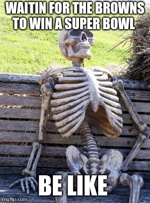 Waiting Skeleton Meme | WAITIN FOR THE BROWNS TO WIN A SUPER BOWL BE LIKE | image tagged in memes,waiting skeleton | made w/ Imgflip meme maker
