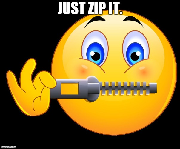 Zipped lips | JUST ZIP IT. | image tagged in zipped lips | made w/ Imgflip meme maker