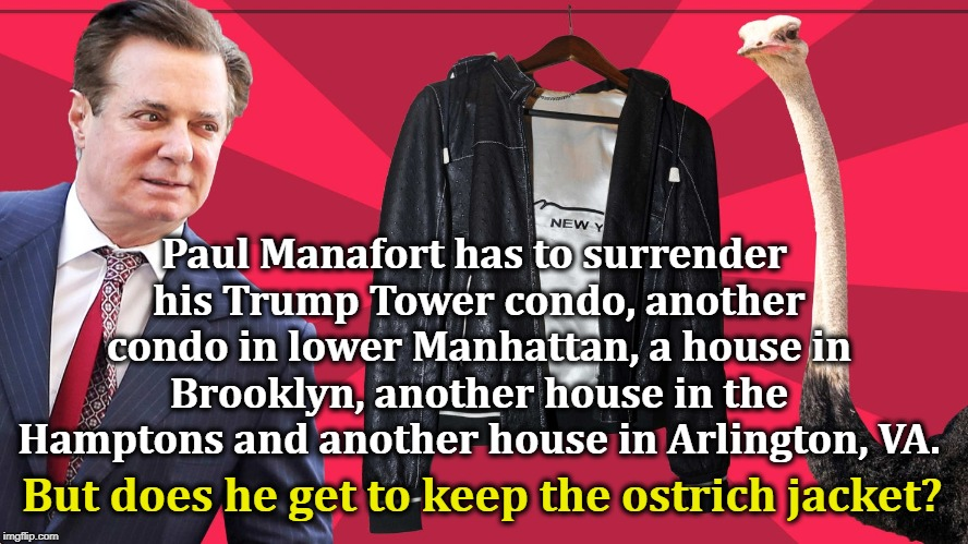 Paul Manafort has to surrender his Trump Tower condo, another condo in lower Manhattan, a house in Brooklyn, another house in the Hamptons a | image tagged in manafort,trump,condo,brooklyn,hamptons,ostrich | made w/ Imgflip meme maker
