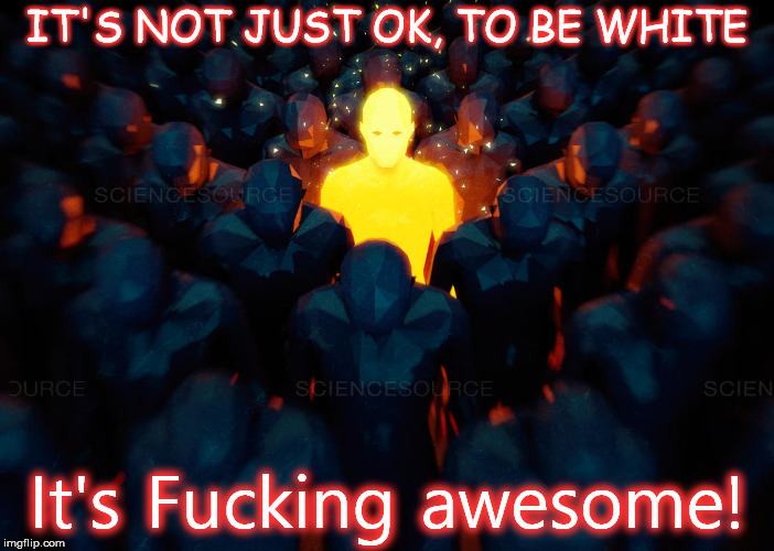 its Ok to be white | IT'S NOT JUST OK, TO BE WHITE It's F**king awesome! | image tagged in white | made w/ Imgflip meme maker