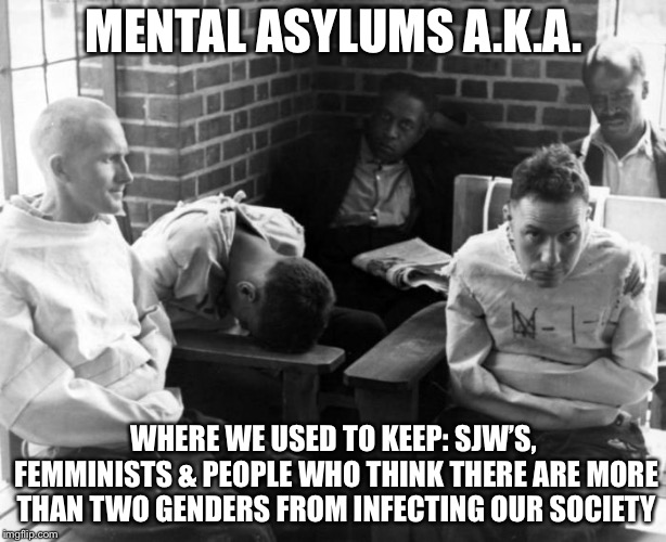 The 'old' days | MENTAL ASYLUMS A.K.A. WHERE WE USED TO KEEP: SJW'S, FEMMINISTS & PEOPLE WHO THINK THERE ARE MORE THAN TWO GENDERS FROM INFECTING OUR SOCIETY | image tagged in asylum,memes,dank memes | made w/ Imgflip meme maker