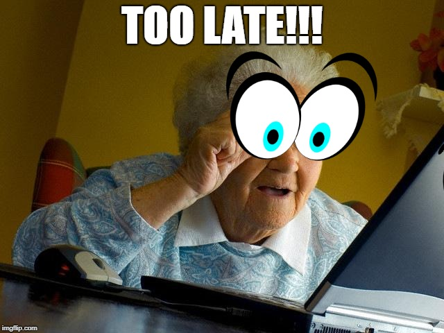 Grandma Finds The Internet Meme | TOO LATE!!! | image tagged in memes,grandma finds the internet | made w/ Imgflip meme maker