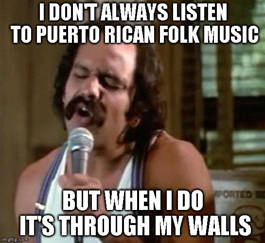 I don't always listen to Puerto Rican folk music | I DON'T ALWAYS LISTEN TO PUERTO RICAN FOLK MUSIC BUT WHEN I DO IT'S THROUGH MY WALLS | image tagged in mexican american,puerto rico,folk music,loud music | made w/ Imgflip meme maker