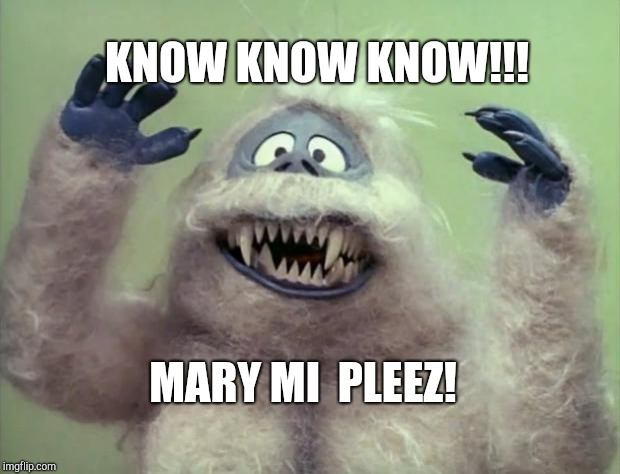 KNOW KNOW KNOW!!! MARY MI  PLEEZ! | image tagged in abominable snowman | made w/ Imgflip meme maker