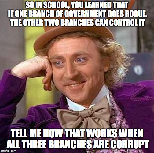 There's a flaw in the system | SO IN SCHOOL, YOU LEARNED THAT IF ONE BRANCH OF GOVERNMENT GOES ROGUE, THE OTHER TWO BRANCHES CAN CONTROL IT TELL ME HOW THAT WORKS WHEN ALL | image tagged in wonka,constitution,fail | made w/ Imgflip meme maker