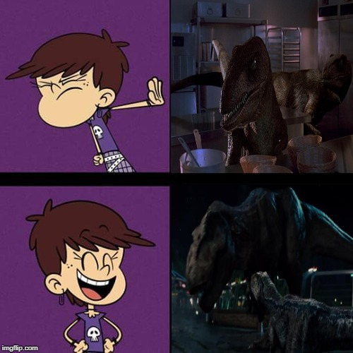 Luna likes Rexy and Blue | image tagged in the loud house,jurassic park,jurassic world,rexy,blue,nickelodeon | made w/ Imgflip meme maker