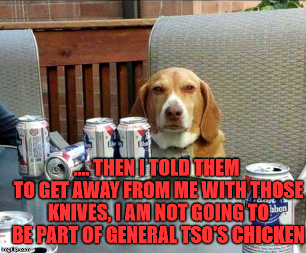 beer dog | .... THEN I TOLD THEM TO GET AWAY FROM ME WITH THOSE KNIVES, I AM NOT GOING TO BE PART OF GENERAL TSO'S CHICKEN | image tagged in beer dog | made w/ Imgflip meme maker