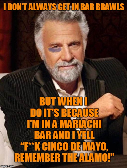 "I DON'T ALWAYS GET IN BAR BRAWLS BUT WHEN I DO IT'S BECAUSE I'M IN A MARIACHI BAR AND I YELL ""F**K CINCO DE MAYO, REMEMBER THE ALAMO!"" 
