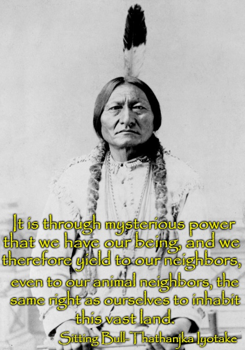 Sitting Bull Hunkpapa Sioux | It is through mysterious power Sitting Bull-Thathanjka Iyotake that we have our being, and we therefore yield to our neighbors, even to our  | image tagged in native american,native americans,indians,tribe,chief,indian chiefs | made w/ Imgflip meme maker