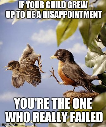 IF YOUR CHILD GREW UP TO BE A DISAPPOINTMENT YOU'RE THE ONE WHO REALLY FAILED | image tagged in tough love | made w/ Imgflip meme maker