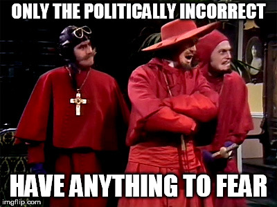 Free speech must be eternally defended against human nature, it seems |  ONLY THE POLITICALLY INCORRECT; HAVE ANYTHING TO FEAR | image tagged in spanish inquisition,political correctness,free speech | made w/ Imgflip meme maker