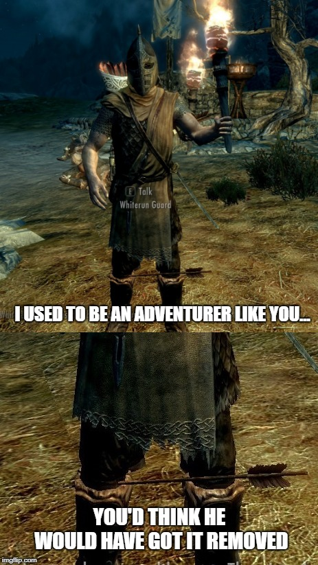 Then he took an... | I USED TO BE AN ADVENTURER LIKE YOU... YOU'D THINK HE WOULD HAVE GOT IT REMOVED | image tagged in memes,skyrim,arrow to the knee | made w/ Imgflip meme maker