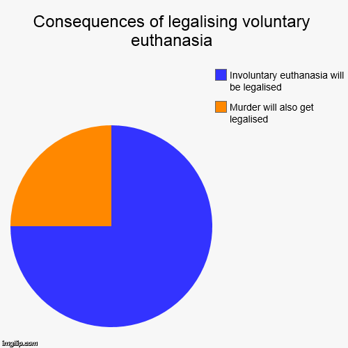 Consequences of legalising voluntary euthanasia | Murder will also get legalised, Involuntary euthanasia will be legalised | image tagged in funny,pie charts | made w/ Imgflip chart maker