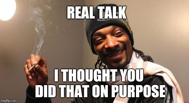 Snoop Dogg | REAL TALK I THOUGHT YOU DID THAT ON PURPOSE | image tagged in snoop dogg,scumbag | made w/ Imgflip meme maker