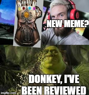What happens to memes on Meme Review.  | NEW MEME? DONKEY, I'VE BEEN REVIEWED | image tagged in pewdiepie | made w/ Imgflip meme maker