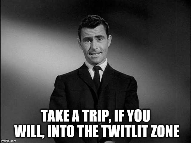 rod serling twilight zone | TAKE A TRIP, IF YOU WILL, INTO THE TWITLIT ZONE | image tagged in rod serling twilight zone | made w/ Imgflip meme maker