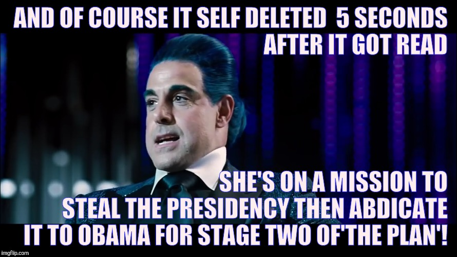 AND OF COURSE IT SELF DELETED  5 SECONDS AFTER IT GOT READ SHE'S ON A MISSION TO STEAL THE PRESIDENCY THEN ABDICATE IT TO OBAMA FOR STAGE TW | made w/ Imgflip meme maker
