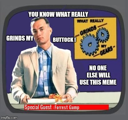 Doubt anyone will see this meme !  | YOU KNOW WHAT REALLY GRINDS MY BUTTOCK ! NO ONE ELSE WILL USE THIS MEME | image tagged in grinds my buttock,funny,memes,forest gump | made w/ Imgflip meme maker