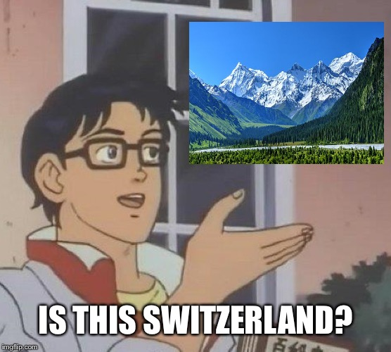 Is this...? | IS THIS SWITZERLAND? | image tagged in is this | made w/ Imgflip meme maker